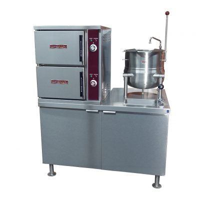 Electric Convection Steamer with Kettle on Cabinet Base
