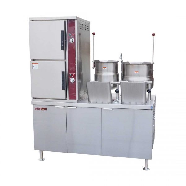 Gas Convection Steamer with Kettles on Cabinet Base