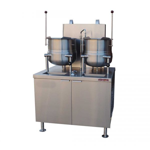Direct Steam Kettles mounted on 42 inch Gas Boiler Base